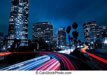 los angeles, urban, stad, hos, solnedgång, med, motorväg,...