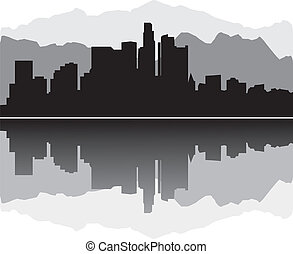 los angelos skyline with reflection