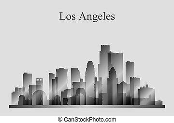 los anieli, miasto skyline, sylwetka, w, grayscale