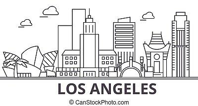 los architektura aniołów, kreska, sylwetka na tle nieba, illustration., linearny, wektor, cityscape, z, sławny, punkty orientacyjny, miasto, cele, projektować, icons., krajobraz, wtih, editable, uderzenia