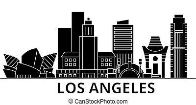 los architektura aniołów, wektor, miasto skyline, podróż, cityscape, z, punkty orientacyjny, zabudowanie, odizolowany, cele, na tle