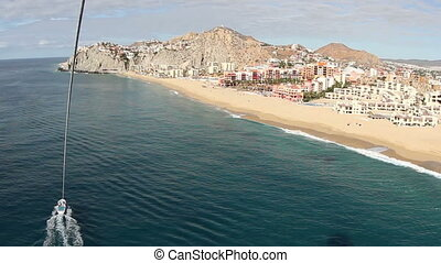 los arcos and los cabos in baja califonia sur, mexico, shot from the air whilst paragliding