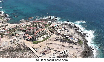 los cabos in baja califonia sur, mexico, shot from the air from a light aircraft