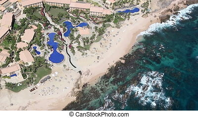 los cabos in baja califonia sur, mexico, shot from the air in a light aircraft