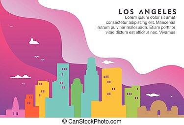 los, cityscape, fond, horizon ville, californie, dynamique, illustration, bâtiment, angeles