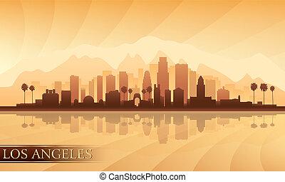 los, détaillé, angeles, horizon, ville, silhouette