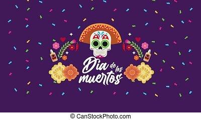 los, dia, porter, crâne, mexicain, muertos, chapeau, ...