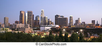 los, district financier, angeles, bâtiments bureau, californie