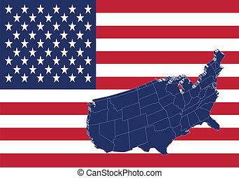 los estados unidos de américa, mapa, y, bandera