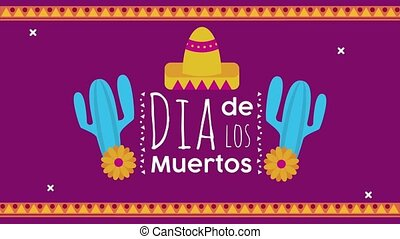 los, lettrage, cactus, dia, mexicain, muertos, chapeau, ...