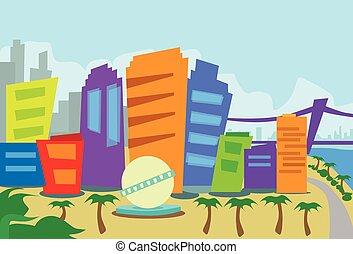 los, resumen, angeles, contorno, ciudad, rascacielos, ...