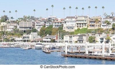 los, usa., océan, propriété, vacances, plage, luxe, beachfront, maisons, prime, propriété, week-end, front mer, californie, côte, front mer, loyer, riche, newport, pacifique, port, angeles., suburbain, maisons, vrai