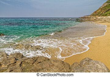 Losari Beach in Balagne region of Corsica - Sand and rocks ...