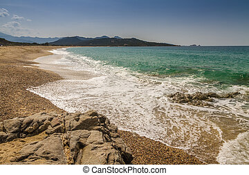 Losari Beach in Balagne region of Corsica - View across to ...