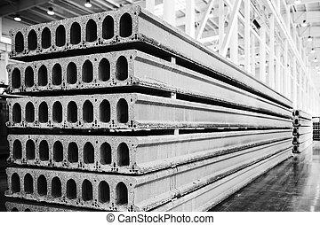 losas, concreto, fábrica, taller, precast, pila, reforzado
