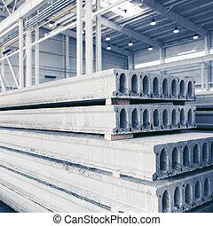 losas, concreto, precast, fábrica, pila, taller, reforzado