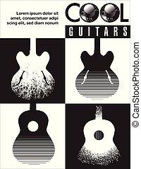 lose, gitarre, grafik, guitars., kühl