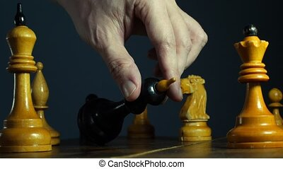 Lose or fail in business or chess game. Board and falling...