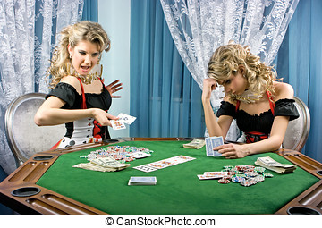 Lose or win - Poker girl loses and wins simultaneously in...