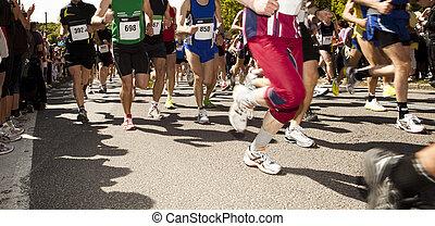 lose, von, leute, rennender , in, a, sport, spiel