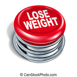 Lose weight fast button as a concept of dieting and healthy eating and low calorie slimming down with nutrition and exercise for human loss of fat and losing pounds for a slimmer body on a white background.