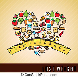 lose weight over cream background  vector illustration