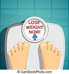 Lose weight. Man standing on the scales.
