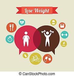 lose weight over  beige background  vector illustration