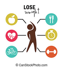 lose weight over white background  vector illustration