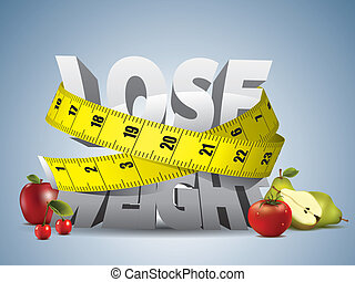 Lose weight text with measure tape and fruits