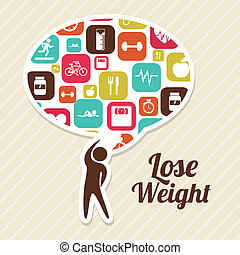 lose weight over pink background  vector illustration