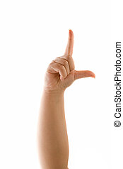 A hand holding up the loser sign or letter L with two fingers isolated over white. Talk to the hand!