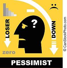 loser., testa, pessimist., icona