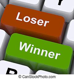 Loser Winner Keys Shows Risk And Chance Online