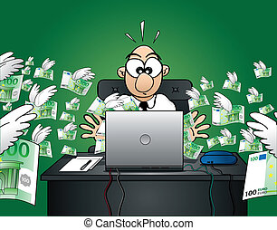 A very surprised internet user/office worker realises that he just lost a lot of money on the web