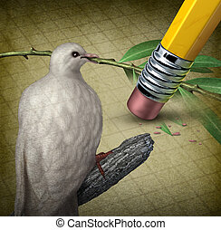Losing Peace - Losing peace crisis concept with a white dove...