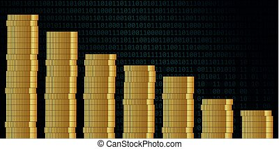 losing sales money coins on binary code background finance concept