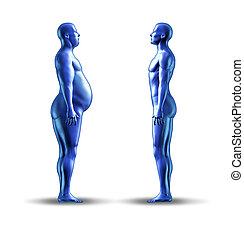 Losing weight symbol with an over weight man facing a normal...