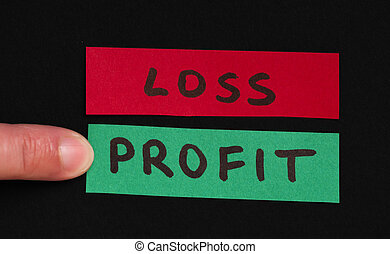 Loss and profit text conception - Loss and profit text over...