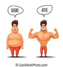 loss., ciężar, po, ilustracja, wektor, dieta, przed, człowiek
