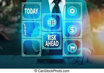 loss., conceptuel, probabilité, ahead., abîmer, photo, responsabilité, risque, projection, signe, menace, texte, ou, blessure