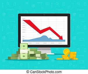 Loss money on computer stocks graphs, vector illustration,...