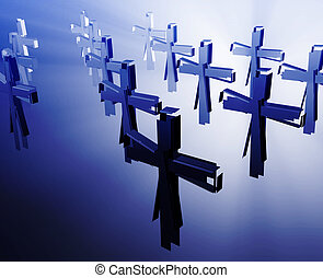 Loss of faith religion, illustrated by broken christian...