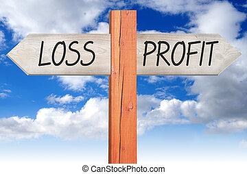 Loss or profit - wooden signpost