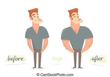 loss., peso, después, delgado, grueso, man., antes