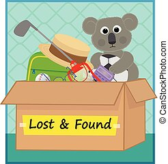 clip art of a box with lost items. Eps10