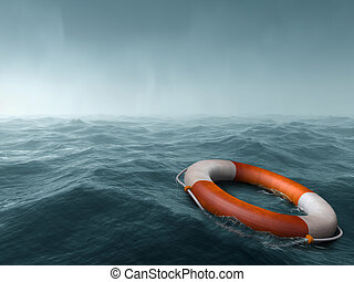 Lost at sea - Lifebuoy floating in the vast expanse of sea