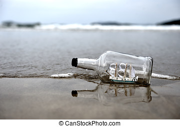 Lost bottle on the beach