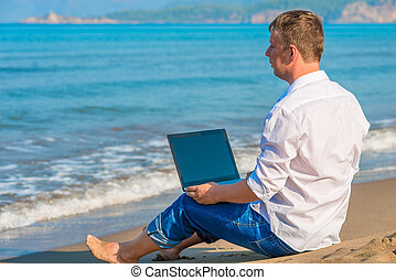 Lost businessman working on a deserted island