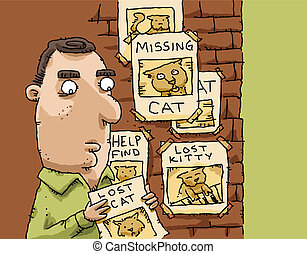 Lost Cat Posters - A cartoon man posts a flyer with others...